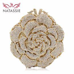 2019 bolsa de porcelana NATASSIE Mulheres Evening Clutch Bag Ladies Gold Bags Embreagens do partido Rose Bolsas de casamento
