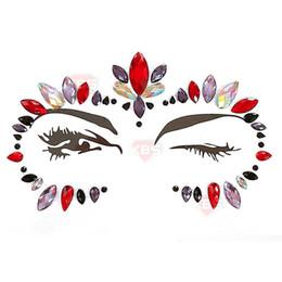 tatuajes de cara para halloween Rebajas Halloween Luminoso Acrílico Poliresina Diamante Pegatinas Decoración de la cara Glitter Crystal Tattoo Pegatinas Para Mujeres Cara 34 Diseños 08