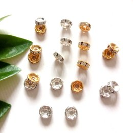 Perlas de plata rondelle online-Comercio al por mayor 500 unids 6 mm / 8 mm de oro / plata Crystal Rhinestone Rondelle Beads suelta Spacer Beads para Diy joyería que hace accesorios