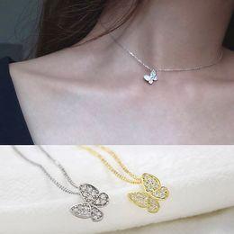 2019 tier-choker Koreanisch schöne zirkon schmetterling choker halskette 925 sterling silber gold tier große kleine anhänger mädchen halskette luxus schmuck günstig tier-choker