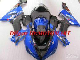 kawasaki ninja 636 kits de corpo Desconto Kit de Carenagem de motocicleta para KAWASAKI Ninja ZX6R 05 06 ZX-6R 636 ZX 6R 2005 2006 azul preto Kit de corpo de fusões KY29