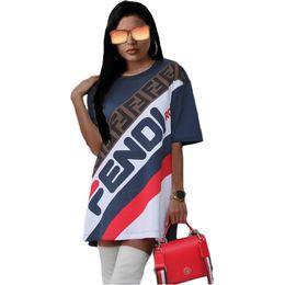 Vestido online-F Carta Vestido de la Camisa de Las Mujeres Falda Deportiva Carta Impresa Manga Corta camisetas Tee Vestidos de Rayas Sueltas Falda Corta LJJO6679