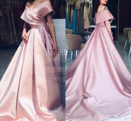 abiti da sera senza spalline nastro nero Sconti Charme Blush Pink Prom Dresses 2019 Off spalla Zipper Back Sweep treno Abiti da sera lunghi abiti Vestido su misura