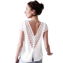 blusa de chiffon de volta abotoada Desconto Backless Blusa de Renda Das Mulheres de Manga Curta de Volta Botão Duplo V Pescoço Chiffon Camisa de Verão Elegante Senhora Branca Top # 10