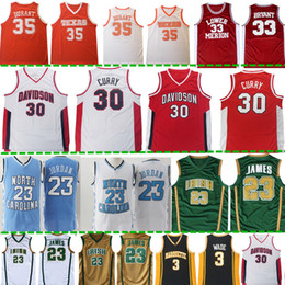 81f9b62d9 NCAA Stephen 30 Curry 35 Jersey Mens high school 23 LeBron James 33 Bryant  Embroidery Logos Basketball Jerseys