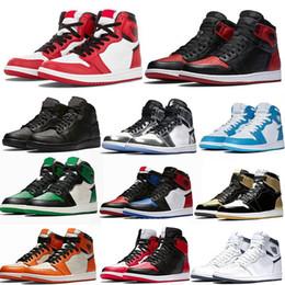 cordões de corte Desconto Nike Air Jordan 1 Banned AJ1 Basquete Atletismo Sneakers Tênis De Corrida Para As Mulheres Esportes Tocha Hare Jogo Royal Pine Verde Tribunal Com Caixa de 36-47 tamanho