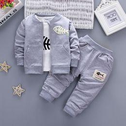 2019 Nuevo estilo Baby Boy Ropa para niñas Rojo Azul marino Gris Abrigo + Camiseta + Pantalones 3PCS Niños Baby Girl Boys Conjuntos de ropa desde fabricantes