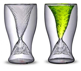 Deutschland Großhandel New 100ml kreative Kristall Mermaid Schwanz Cup transparente Glas Fish Tail Practical Kreative Wein Cup Hitzebeständige Glass Bar Cups Versorgung