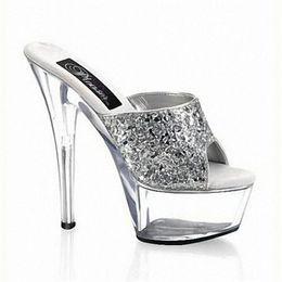 Summer Silver 15CM Piattaforma con tacchi alti Sexy Night Club Pantofole  per feste da ballo Scarpe da ballo Pantofole da donna scarpe pole dancing  economici c4e12e20ada