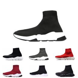 2019 chaussettes gris homme Balenciaga sock speed trainer Hommes Femmes Chaussures de sport, baskets basses mode gris triple noir blanc rouge chaussures de paris taille 36-45 chaussettes gris homme pas cher
