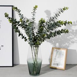 folhas verdes de plástico Desconto Plantas artificiais Plástico Macio Eucalipto Plantas Verdes Decoração de Casa Planta Falso Deixa Decoração de Casamento Simulação Bonsai