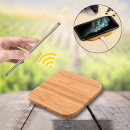 Holzladegerät online-Bamboo Wireless-Ladegerät Holz Holz Pads Qi Charging Schnell Dock USB-Kabel Tablet Lade für iPhone 11 Pro Max für Samsung note10 plus
