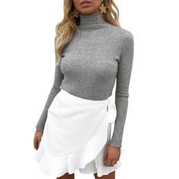 Футболка с длинными рукавами онлайн-Women Turtleneck Knitwear Long Sleeve Pullover Jumper Cardigan Outwear female T-shirt for women