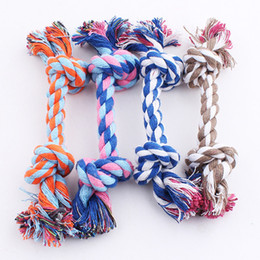 funny bones cartoon Promo Codes - 17CM Dog Toys Pet Supplies Pet Dog Puppy Cotton Chews Knot Toy Durable Braided Bone Rope Funny Tool