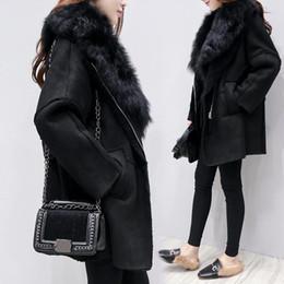 2019 cappotto di pelliccia nera GETSRING Womens Faux Fur Coat caldo spessore 2017 New Black Winter Suede Lamb Fur Coat Lungo Faux Jacket peluche Cappotti Vintage sconti cappotto di pelliccia nera