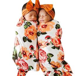 2019 conjuntos de cama florais MUQGEW Cobertores Do Bebê Swaddle Infantil Do Bebê Swaddle Floral Turbante Chapéu Macio Cobertor de Dormir Envoltório Set Cobertor De Cama Recém-nascido conjuntos de cama florais barato