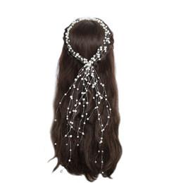 2019 blaue perlengirlande Braut Hochzeit Kopfschmuck Handgemachte Perlen Haarband Einfache mehrschichtige Perlen Quasten mit Braut Haarschmuck