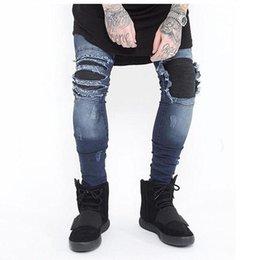 2019 hip hop meio lavagem jeans Jeans Skinny Homens Rasgado Branco Preto Magro Estiramento Buraco Afligido Mens Jeans Motociclista Médio Lavar Streetwear Hip Hop Calças Basculador hip hop meio lavagem jeans barato