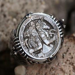 Bagues en argent sterling anciennes en Ligne-Vintage 925 Sterling Silver Ancient Egyptien Pharaon Anneau Horus Anubis Wanderer Anneau Bague Dominatrice Personnalité Hommes
