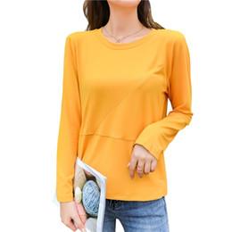 Желтый пуловер онлайн-Harajuku Sweatshirt Women Green Yellow Long-Sleeved Cotton Autumn Hoodies Casual Tops Female Fashion Solid Pullovers M-2XL F2