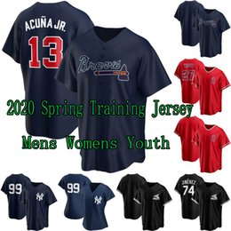 Mike truta beisebol jérseis on-line-2020 Spring Training Jersey 13 Ronald Acuna Jr. JR 27 Mike Trout 74 Eloy Jimenez 99 Aaron juiz das mulheres dos homens Youth Baseball Jerseys