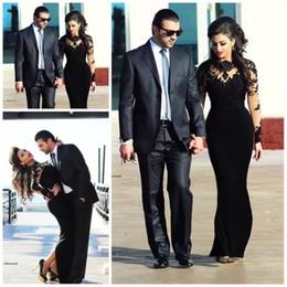 Ilusão neckline vestidos de comprimento total on-line-2019 Novo Design Formal Preto Vestidos de Noite Sheer High Neckline Bainha de Comprimento Completo Ilusão Mangas Compridas Vestidos de Noite para as Mulheres árabes
