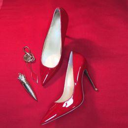 2019 sexy 15 vestidos Mulheres Sapatos de Salto Alto Sapatos de grife Vermelho Inferior sapatos de Luxo Glitter Bomba De Couro Dedo Apontado Mulheres Sexy Bombas Vestido De Casamento Sapatos cor 15 desconto sexy 15 vestidos