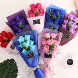 heiße rosa pfingstrose blume Rabatt Creative-7 kleine Sträuße von Rosen-Blumen Simulation Seifenblume für Hochzeit Valentinstag Muttertag Teachers Day Geschenk dekorative Blumen