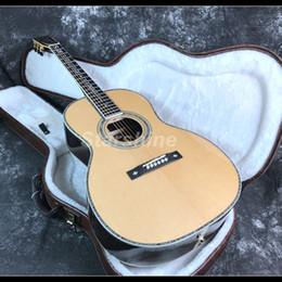 incrustaciones de abulón para guitarras Rebajas 2019 Personalizada Sólido OM45 Guitarra Acústica Abalone Incrustación ébano Diapasón Tuerca de Hueso Cuerpo de Abeto Sólido