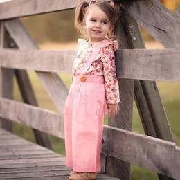 2019 calças da menina da forma MUQGEW Moda Bebê Meninas roupas 2 PCs de Manga Comprida Floral Tops + Macacão Sólida Calças Roupas Roupas roupas de Inverno conjunto meni desconto calças da menina da forma