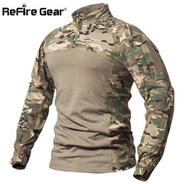 2019 multicam uniformen Refire Gear Tactical Combat Shirt Männer Baumwolle Militäruniform Camouflage T-shirt Multicam Us Armee Kleidung Camo Langarm Shirt J190525 rabatt multicam uniformen