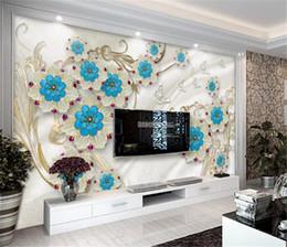 Smaragdseide online-Exquisite und elegante Punkt Emerald Blue Flowers Wohnzimmer Schlafzimmer Hintergrund Wanddekoration Wandbild Tapete Benutzerdefinierte Foto 3d Tapete