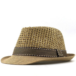 Chapéu de palha verão menino on-line-2020 New Boy Straw hat Baby Sun Hats Children Jazz Cap Bucket hat Sun Summer For Girls Panamá Photography Props