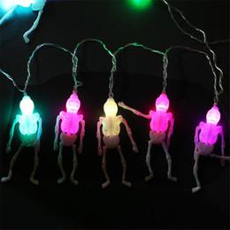Batería esqueleto online-Luces de esqueleto de Halloween Lámpara de cuerda Decoración de fiesta de vacaciones Luz de cadena Decoraciones de Halloween con batería JK1909