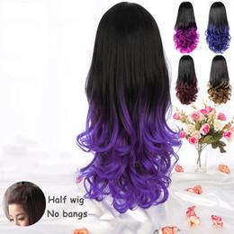 mehrfarbige haare gefärbt Rabatt Mode weibliche große Welle langes lockiges Haar meistverkaufte europäischen und amerikanischen Farbverlauf flauschigen Birnenblüte halben Satz Farbe Multi-Select