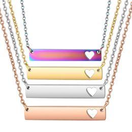 gold gefüllt kubanischen link silber Rabatt 30 teile / los Großhandel Bar Halskette Aushöhlen Herz Bar Anhänger Halsketten Regenbogen Rose Gold 5colors Edelstahl Halsband Schmuck
