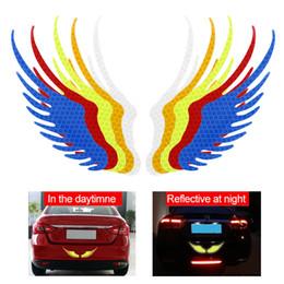 prezzo di fabbrica Sconti 2 pezzi di sicurezza avvertimento riflettente autoadesivo angelo ali riflettenti Warning Sign divertente della decalcomania della motocicletta