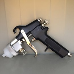 Cromo chapeamento de escova on-line-SAT1182 dupla bico da pistola de pressão de alimentação de ar Pulverizador Air Brush duplo Bico Chrome Placa pintura pistola pneumática Car