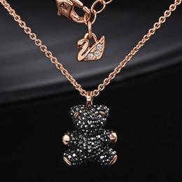 kupfer-namensschilder Rabatt Europäische und amerikanische Marken 100% 925 Sterling Silber eingelegten natürlichen Kristall Bär Anhänger Halskette ist das beste Geschenk für Liebhaber
