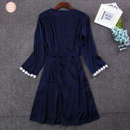 rendas vestidos de dama de honra de duas cores Desconto Pijamas Mulheres Sexy Lace Silk Robe vestido Set Vestido de Banho Dois 2019 Pedaço de casamento 5 Color Robe dama de honra
