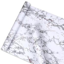 Пвх мебельная пленка онлайн-Imitation White Marble Sticker Waterproof PVC Self-adhesive Wallpaper Furniture Renovation Stickers Home Decor Film