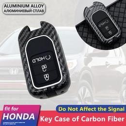 capa honda civic carro chave Desconto Fibra de Carbono de metal da chave do carro caso capa Shell 3 botões para Honda CR-V RM1 Cidade Accord Civic 10 Keychain Acessórios Anel