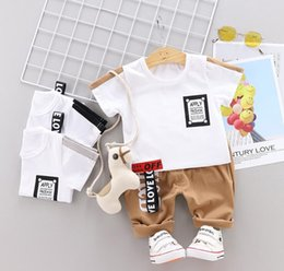 girl kids t shirt design Coupons - Little Kids Sets 1-3T Kids T-shirt And Short Pants 2Pcs sets Baby Boys Girls 95% Cotton Pattern Design Printing Style Summer Sets hf60404