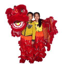 Art adulte en Ligne-ART rouge enfants nouvelle mascotte Danse du Lion Costume école jouer en plein air jours enfants Parade laine Southern Lion Adulte taille costume folklorique chinois