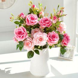 Розовый большой букет онлайн-65 см длинная ветка 3 головы розы большие искусственные цветы белый розовый шелк большой поддельный цветок бутоны розы букет искусственные цветы ткань