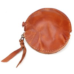 cowhide purses wholesale Promo Codes - New Retro Fashion Black Handmade Genuine Leather Zipper Cowhide Small Mini Coin Pouch Key Hook Bags Purse Wallet for Girls