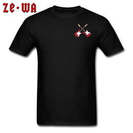 Cool Men T Shirt Dos Homens Cruz Logotipo Da Guitarra Tshirt Europa Guitarras Eléctricas T-shirt Funky Banda Top Rock N Roll Chic Tees Algodão Preto cheap guitars europe de Fornecedores de guitarra europeia