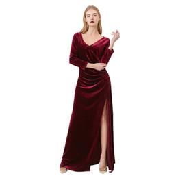 Canada 2019 nouvelle chaude nouvelle européenne et américaine haut de gamme velours d'or sexy col V manches sept points split robe robe jupe femmes fête Offre