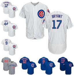 Kyle schwarber online-17 Kris Bryant 12 Kyle Schwarber 44 Anthony Rizzo Camisetas de béisbol 9 Javier Baez Chicago White Blue Cubs Jersey