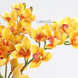 Orchidee arancioni online-Orchidee falene di colore arancione falso gambo lungo orchidea phalaenopsis orchidea 14 teste / pezzo per fiori decorativi decorativi di nozze